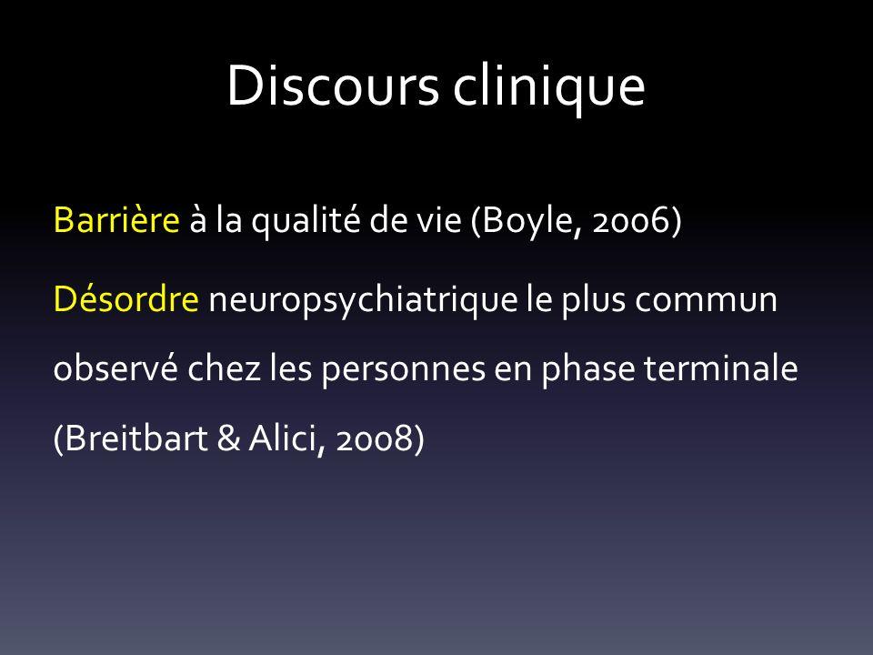 Discours clinique Barrière à la qualité de vie (Boyle, 2006) Désordre neuropsychiatrique le plus commun observé chez les personnes en phase terminale