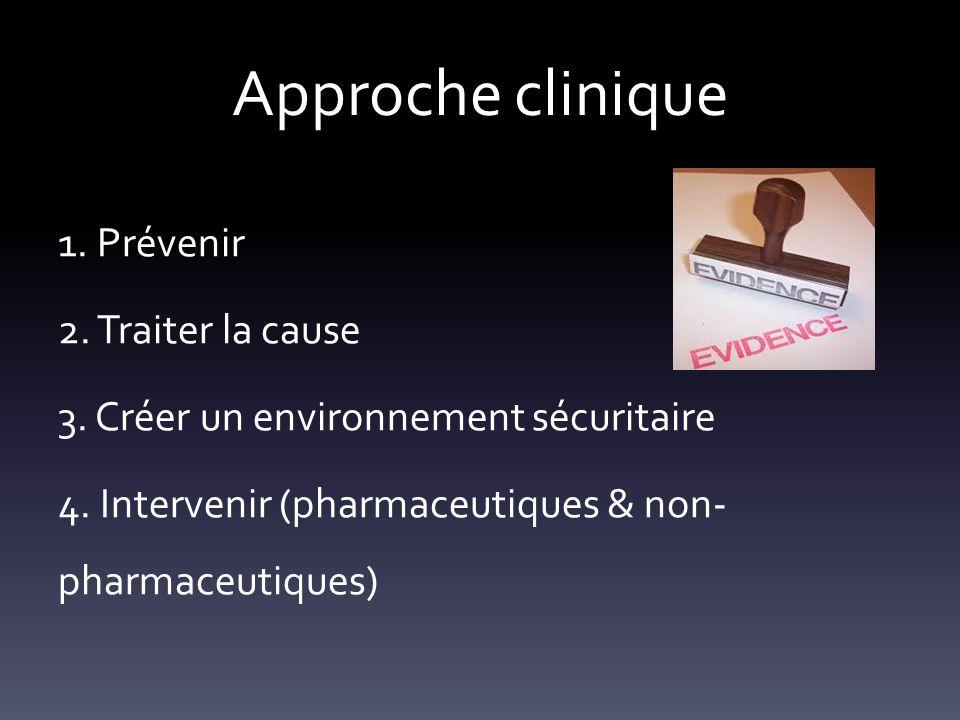 Approche clinique 1. Prévenir 2. Traiter la cause 3. Créer un environnement sécuritaire 4. Intervenir (pharmaceutiques & non- pharmaceutiques)