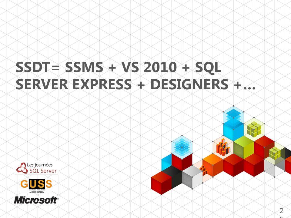 SSDT= SSMS + VS 2010 + SQL SERVER EXPRESS + DESIGNERS +… 25