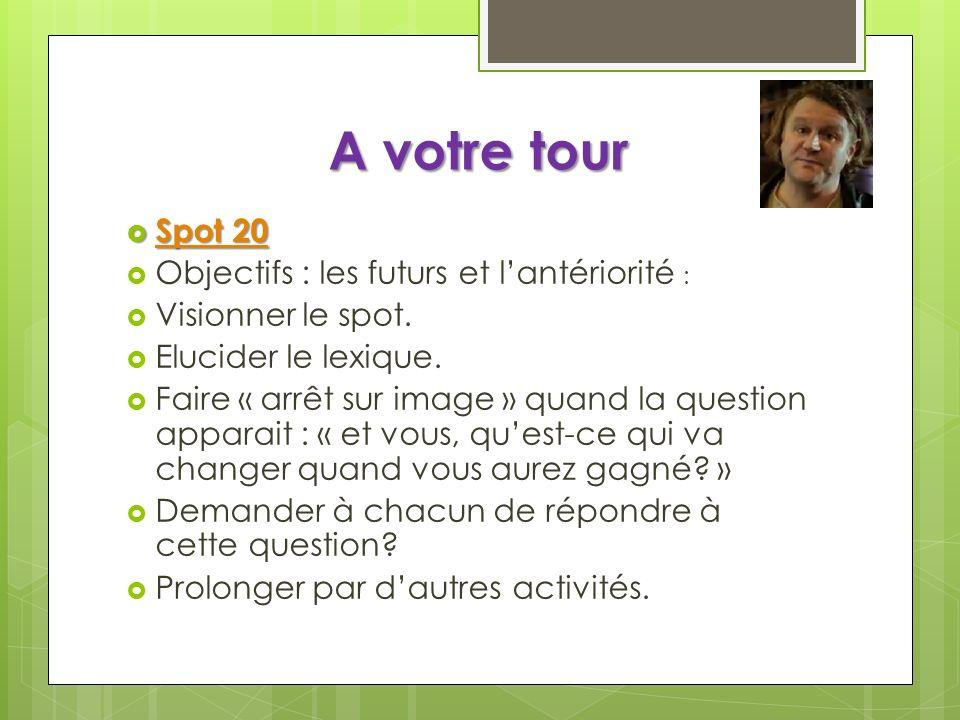 A votre tour Spot 21 Spot 21 Spot 21 Spot 21 Objectif (lexical) : les différents sens dun mot Visionner le début du spot : les 2 premières scènes : « une vague, une vague).