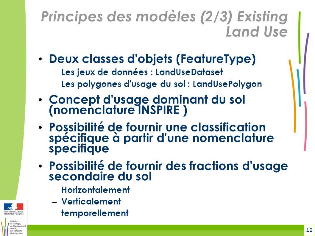 12 Principes des modèles (2/3) Existing Land Use Deux classes d objets (FeatureType) – Les jeux de données : LandUseDataset – Les polygones d usage du sol : LandUsePolygon Concept d usage dominant du sol (nomenclature INSPIRE ) Possibilité de fournir une classification spécifique à partir d une nomenclature specifique Possibilité de fournir des fractions d usage secondaire du sol – Horizontalement – Verticalement – temporellement