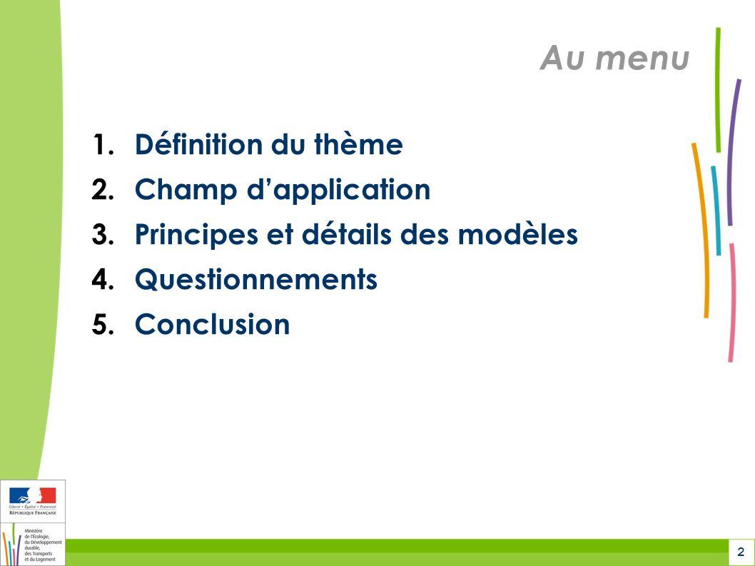2 Au menu 1.Définition du thème 2.Champ dapplication 3.Principes et détails des modèles 4.Questionnements 5.Conclusion