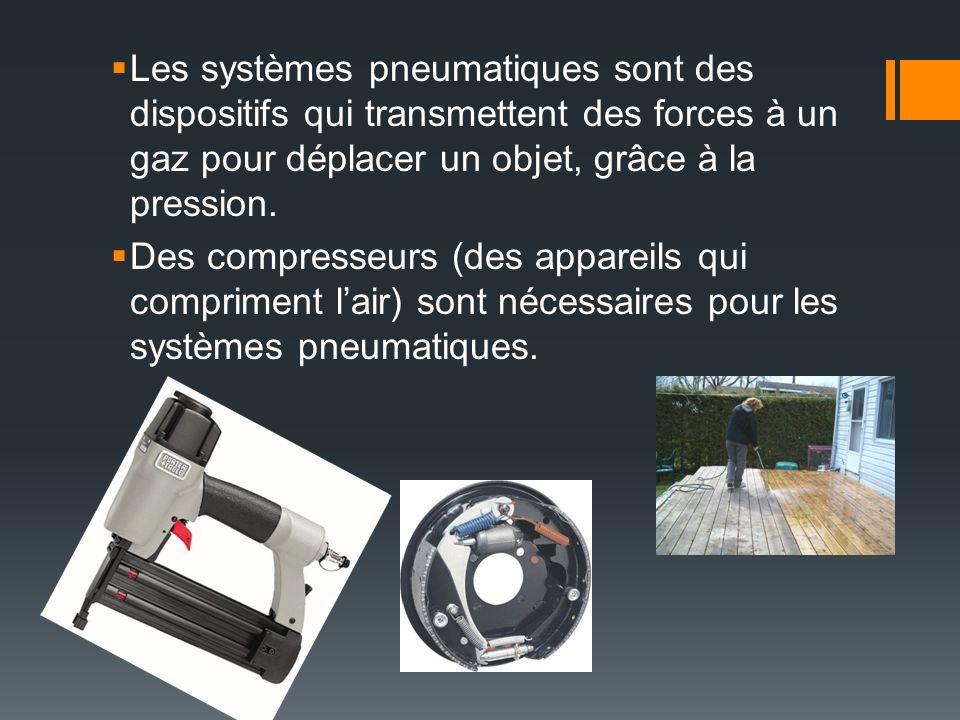 Les systèmes pneumatiques sont des dispositifs qui transmettent des forces à un gaz pour déplacer un objet, grâce à la pression. Des compresseurs (des