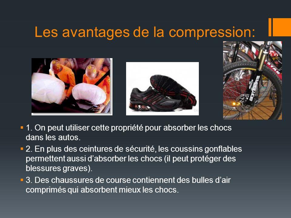 Les avantages de la compression: 1. On peut utiliser cette propriété pour absorber les chocs dans les autos. 2. En plus des ceintures de sécurité, les
