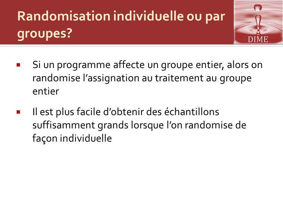 Randomisation individuelle ou par groupes? Si un programme affecte un groupe entier, alors on randomise lassignation au traitement au groupe entier Il