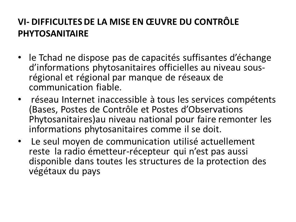 VI- DIFFICULTES DE LA MISE EN ŒUVRE DU CONTRÔLE PHYTOSANITAIRE le Tchad ne dispose pas de capacités suffisantes déchange dinformations phytosanitaires