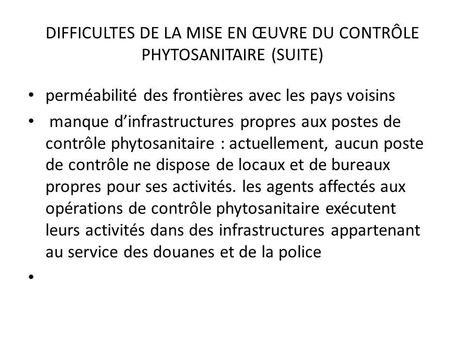 DIFFICULTES DE LA MISE EN ŒUVRE DU CONTRÔLE PHYTOSANITAIRE (SUITE) perméabilité des frontières avec les pays voisins manque dinfrastructures propres a