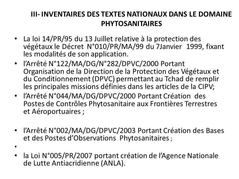 III- INVENTAIRES DES TEXTES NATIONAUX DANS LE DOMAINE PHYTOSANITAIRES La loi 14/PR/95 du 13 Juillet relative à la protection des végétaux le Décret N°