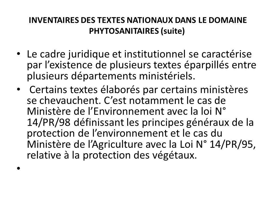 INVENTAIRES DES TEXTES NATIONAUX DANS LE DOMAINE PHYTOSANITAIRES (suite) Le cadre juridique et institutionnel se caractérise par lexistence de plusieu