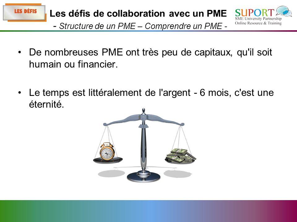 De nombreuses PME ont très peu de capitaux, qu il soit humain ou financier.