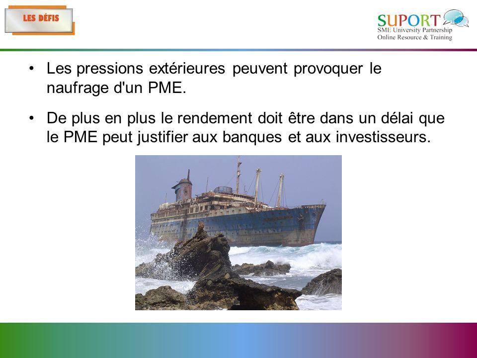 Les pressions extérieures peuvent provoquer le naufrage d un PME.