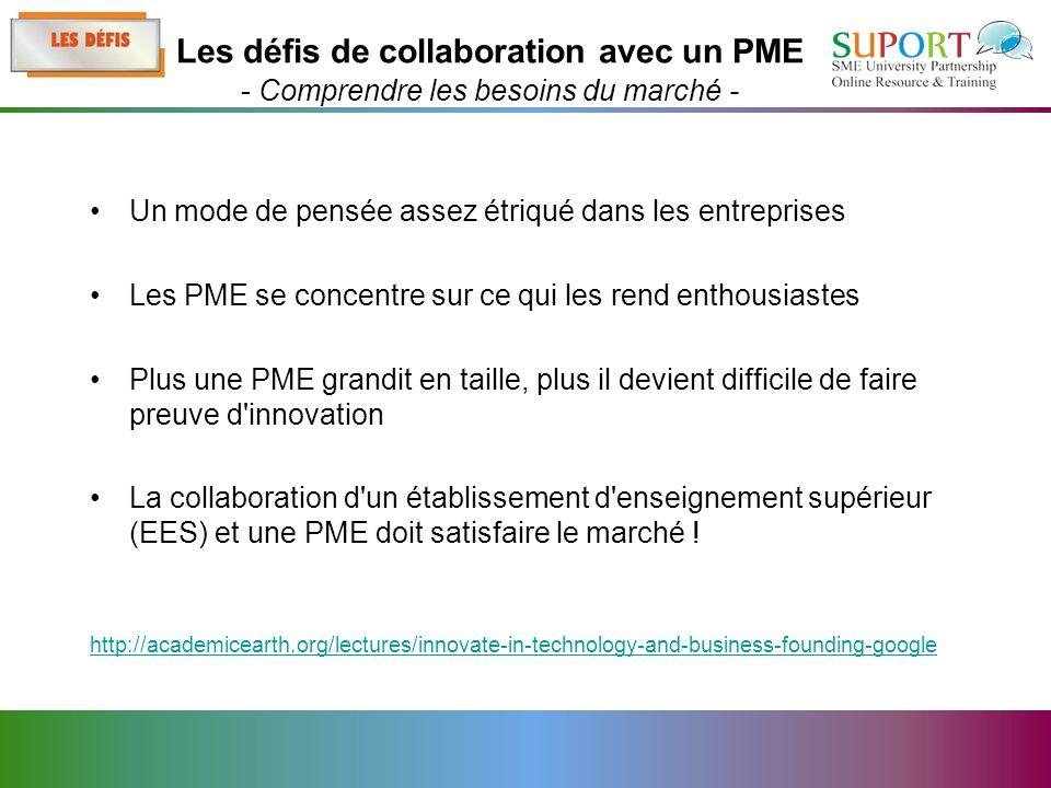 Un mode de pensée assez étriqué dans les entreprises Les PME se concentre sur ce qui les rend enthousiastes Plus une PME grandit en taille, plus il devient difficile de faire preuve d innovation La collaboration d un établissement d enseignement supérieur (EES) et une PME doit satisfaire le marché .