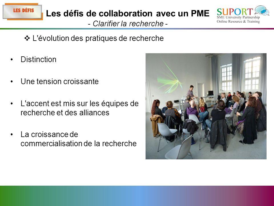 Distinction Une tension croissante L accent est mis sur les équipes de recherche et des alliances La croissance de commercialisation de la recherche L évolution des pratiques de recherche Les défis de collaboration avec un PME - Clarifier la recherche -