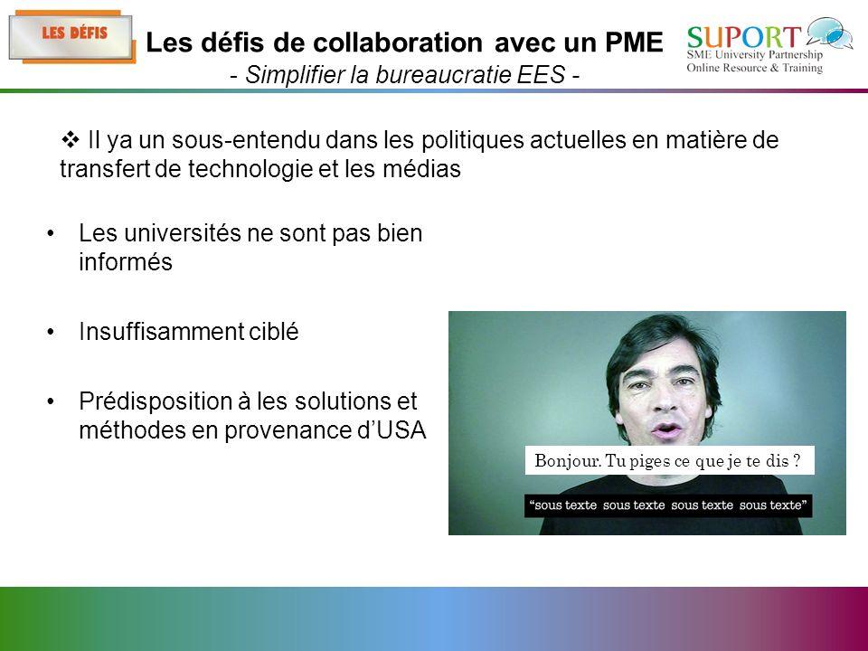 Les universités ne sont pas bien informés Insuffisamment ciblé Prédisposition à les solutions et méthodes en provenance dUSA Il ya un sous-entendu dans les politiques actuelles en matière de transfert de technologie et les médias Les défis de collaboration avec un PME - Simplifier la bureaucratie EES - Bonjour.