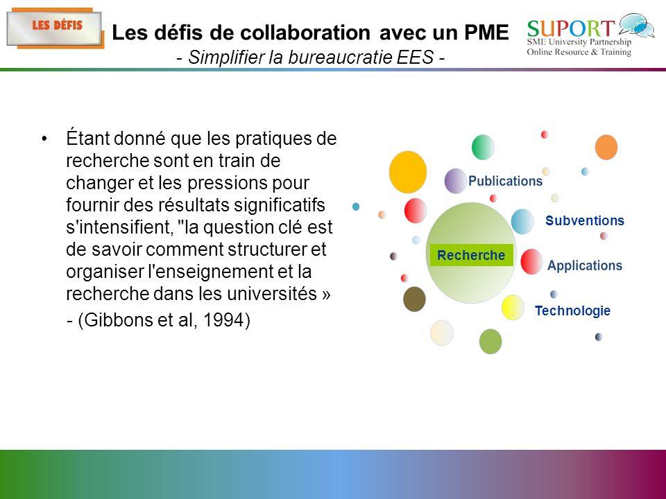 Étant donné que les pratiques de recherche sont en train de changer et les pressions pour fournir des résultats significatifs s intensifient, la question clé est de savoir comment structurer et organiser l enseignement et la recherche dans les universités » - (Gibbons et al, 1994) Les défis de collaboration avec un PME - Simplifier la bureaucratie EES - Technologie Subventions Recherche