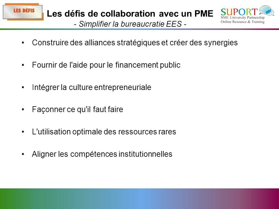 Construire des alliances stratégiques et créer des synergies Fournir de l aide pour le financement public Intégrer la culture entrepreneuriale Façonner ce qu il faut faire L utilisation optimale des ressources rares Aligner les compétences institutionnelles Les défis de collaboration avec un PME - Simplifier la bureaucratie EES -
