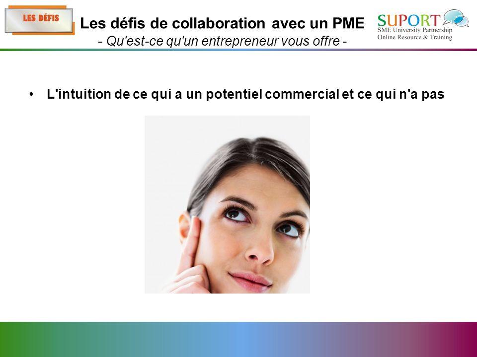 L intuition de ce qui a un potentiel commercial et ce qui n a pas Les défis de collaboration avec un PME - Qu est-ce qu un entrepreneur vous offre -