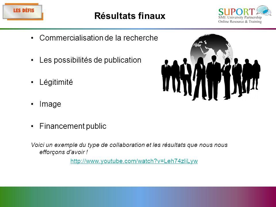 Commercialisation de la recherche Les possibilités de publication Légitimité Image Financement public Voici un exemple du type de collaboration et les résultats que nous nous efforçons d avoir .