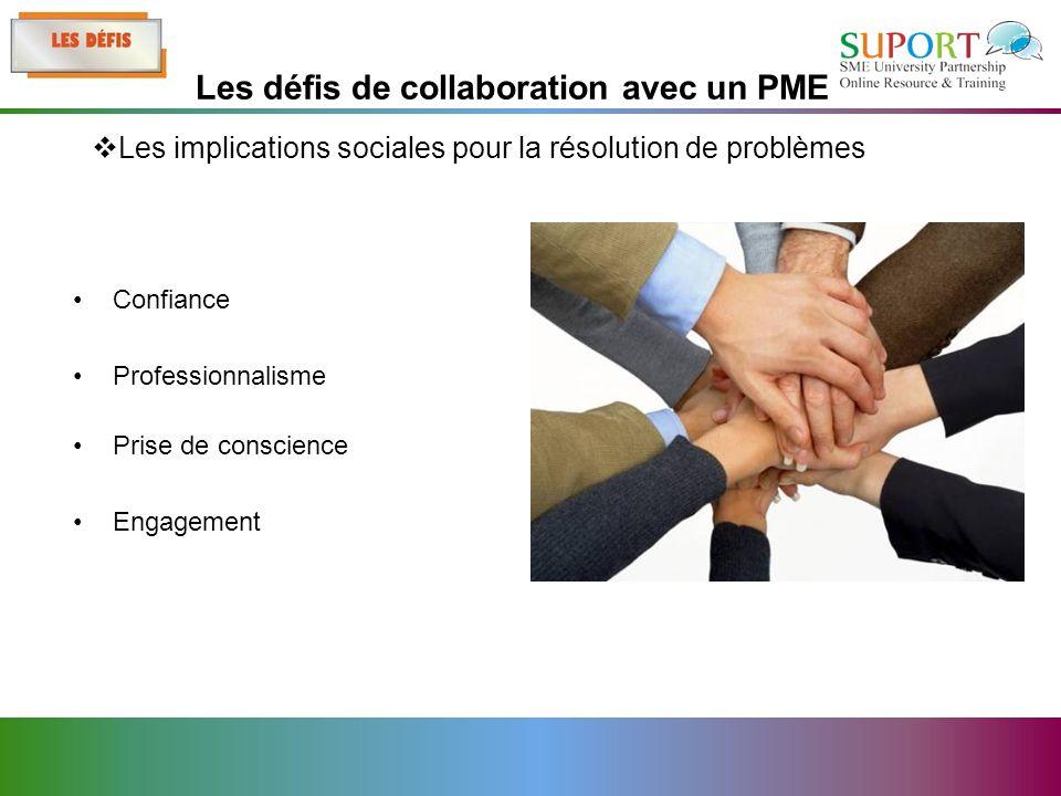 Confiance Professionnalisme Prise de conscience Engagement Les implications sociales pour la résolution de problèmes Les défis de collaboration avec un PME