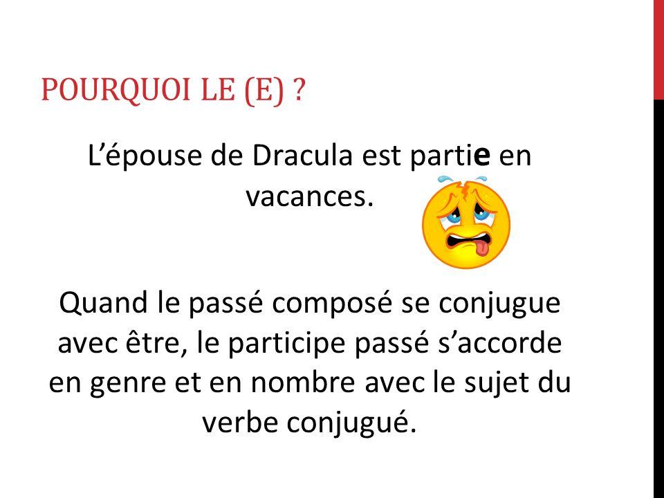POURQUOI LE (E) ? Lépouse de Dracula est parti e en vacances. Quand le passé composé se conjugue avec être, le participe passé saccorde en genre et en
