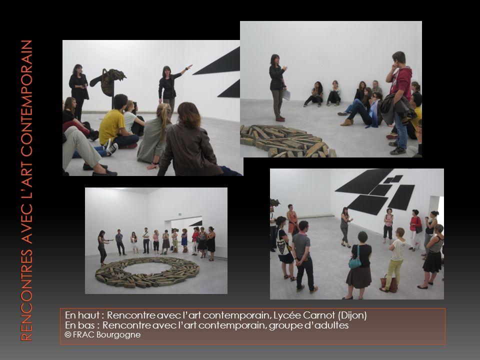 En haut : Rencontre avec lart contemporain, Lycée Carnot (Dijon) En bas : Rencontre avec lart contemporain, groupe dadultes © FRAC Bourgogne