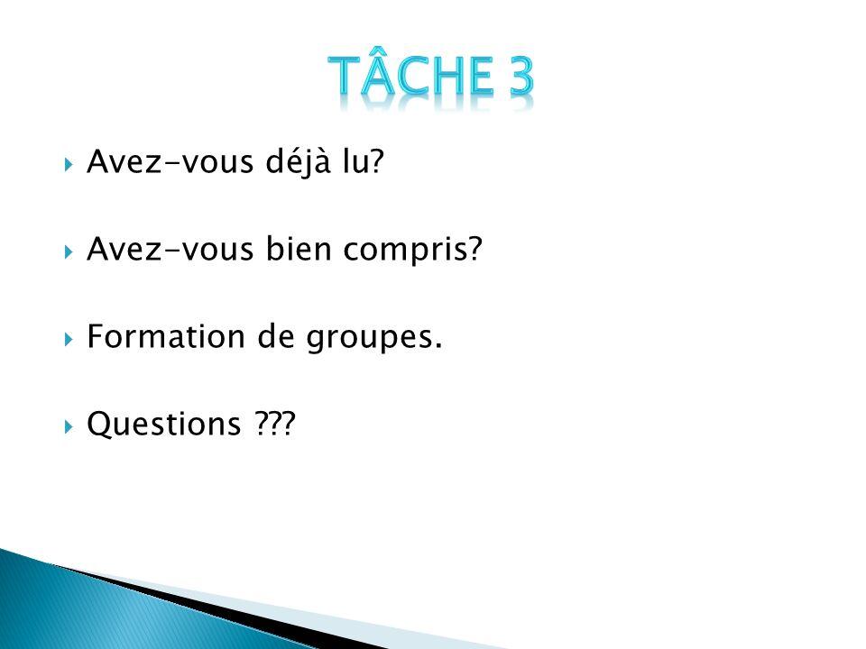 Avez-vous déjà lu? Avez-vous bien compris? Formation de groupes. Questions ???