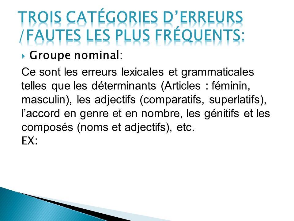 Groupe nominal: Ce sont les erreurs lexicales et grammaticales telles que les déterminants (Articles : féminin, masculin), les adjectifs (comparatifs,