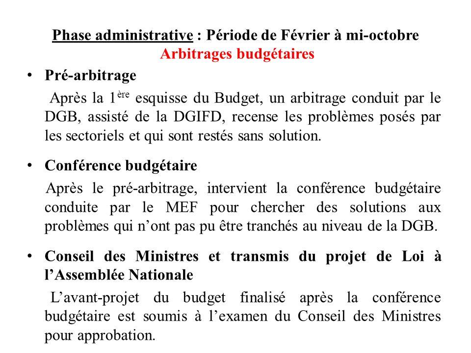 Phase administrative : Période de Février à mi-octobre Arbitrages budgétaires Pré-arbitrage Après la 1 ère esquisse du Budget, un arbitrage conduit par le DGB, assisté de la DGIFD, recense les problèmes posés par les sectoriels et qui sont restés sans solution.