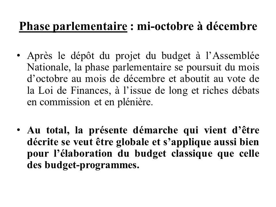 Phase parlementaire : mi-octobre à décembre Après le dépôt du projet du budget à lAssemblée Nationale, la phase parlementaire se poursuit du mois doctobre au mois de décembre et aboutit au vote de la Loi de Finances, à lissue de long et riches débats en commission et en plénière.