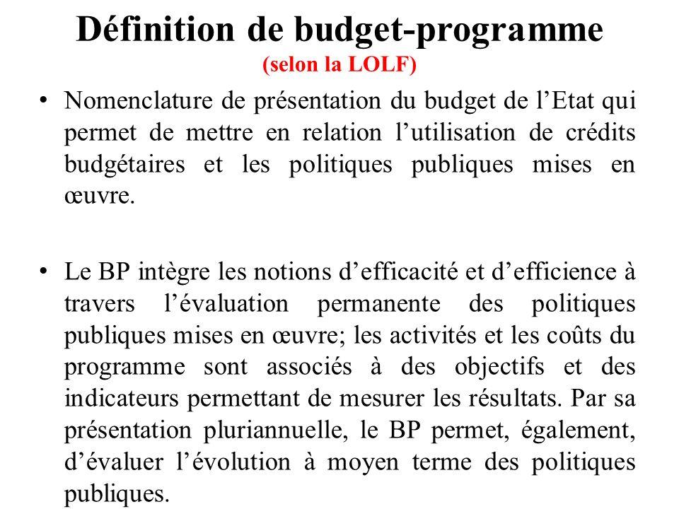Définition de budget-programme (selon la LOLF) Nomenclature de présentation du budget de lEtat qui permet de mettre en relation lutilisation de crédits budgétaires et les politiques publiques mises en œuvre.