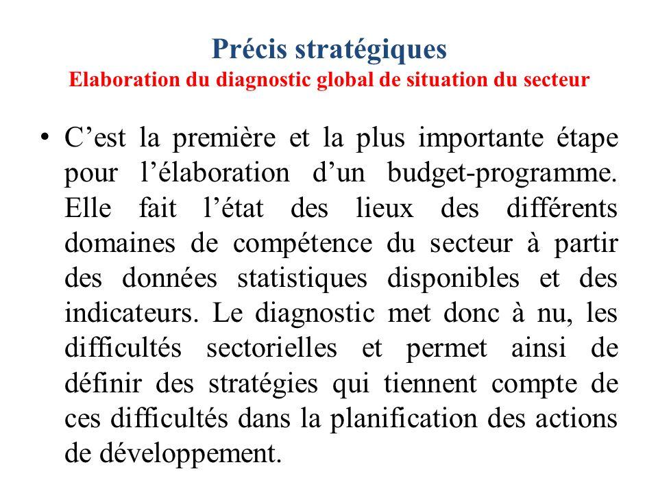 Précis stratégiques Elaboration du diagnostic global de situation du secteur Cest la première et la plus importante étape pour lélaboration dun budget-programme.