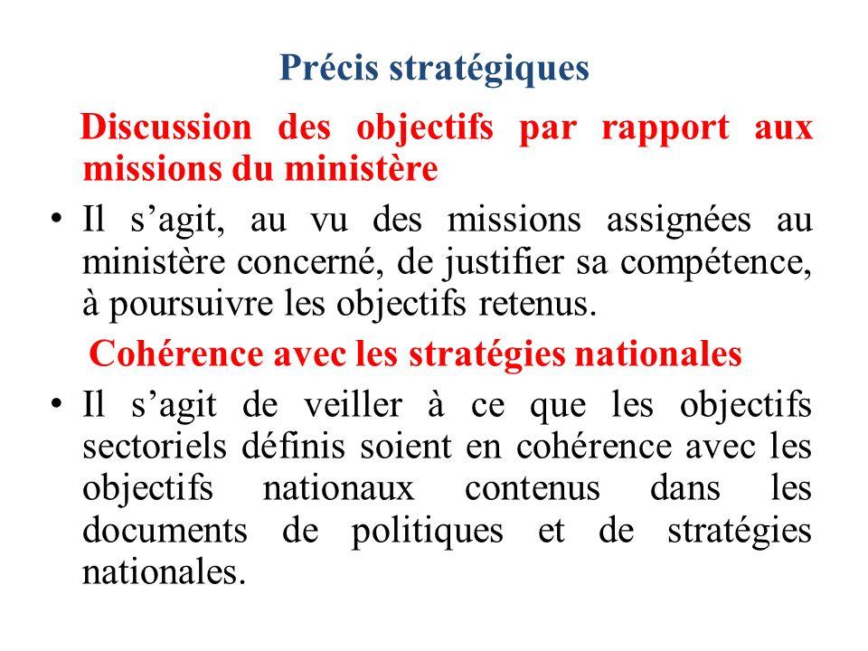 Discussion des objectifs par rapport aux missions du ministère Il sagit, au vu des missions assignées au ministère concerné, de justifier sa compétence, à poursuivre les objectifs retenus.