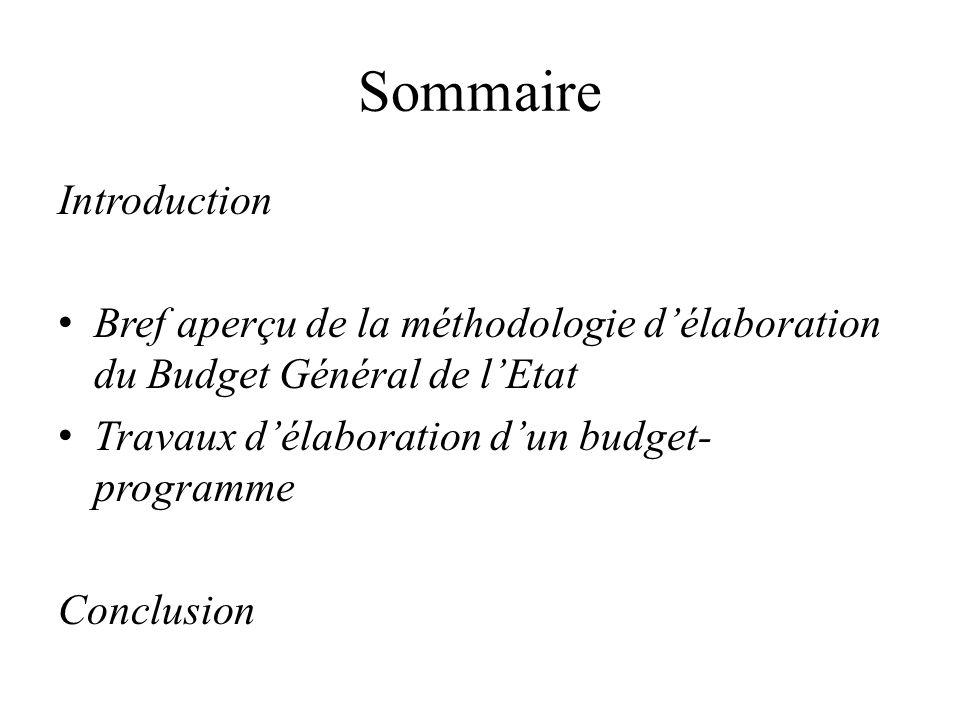 Sommaire Introduction Bref aperçu de la méthodologie délaboration du Budget Général de lEtat Travaux délaboration dun budget- programme Conclusion
