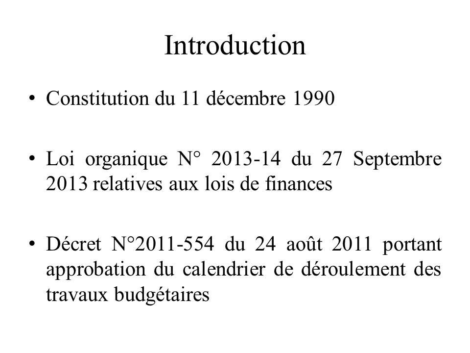 Introduction Constitution du 11 décembre 1990 Loi organique N° 2013-14 du 27 Septembre 2013 relatives aux lois de finances Décret N°2011-554 du 24 août 2011 portant approbation du calendrier de déroulement des travaux budgétaires
