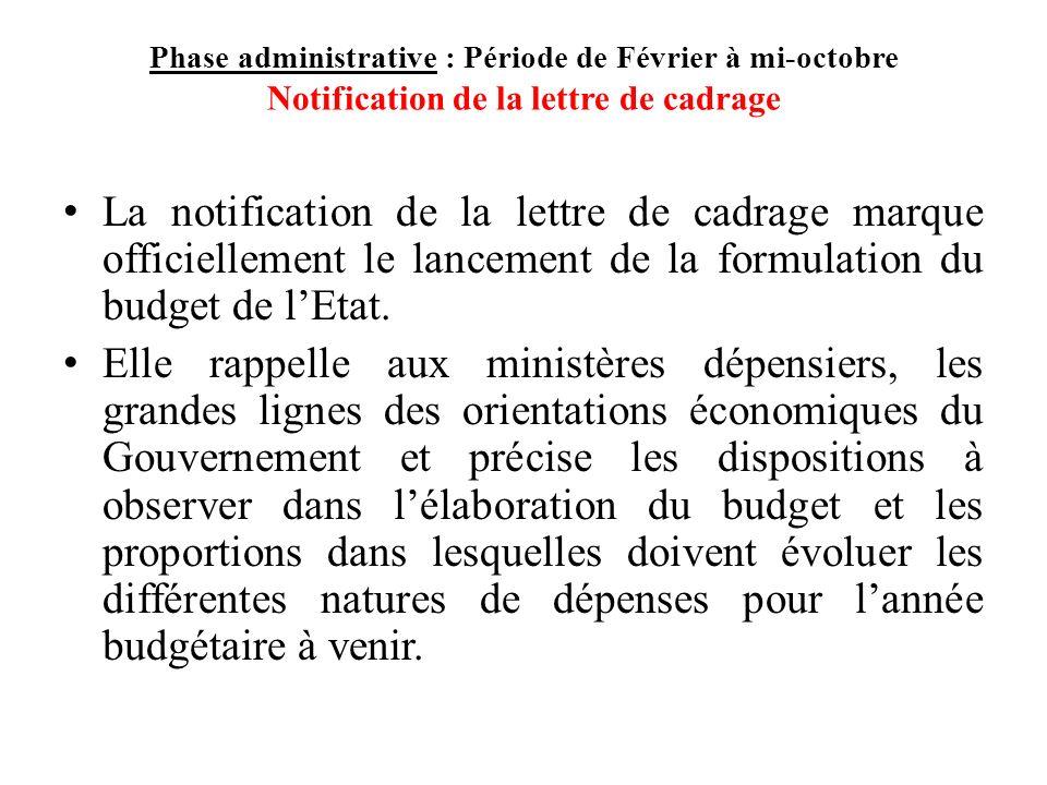 Phase administrative : Période de Février à mi-octobre Notification de la lettre de cadrage La notification de la lettre de cadrage marque officiellement le lancement de la formulation du budget de lEtat.
