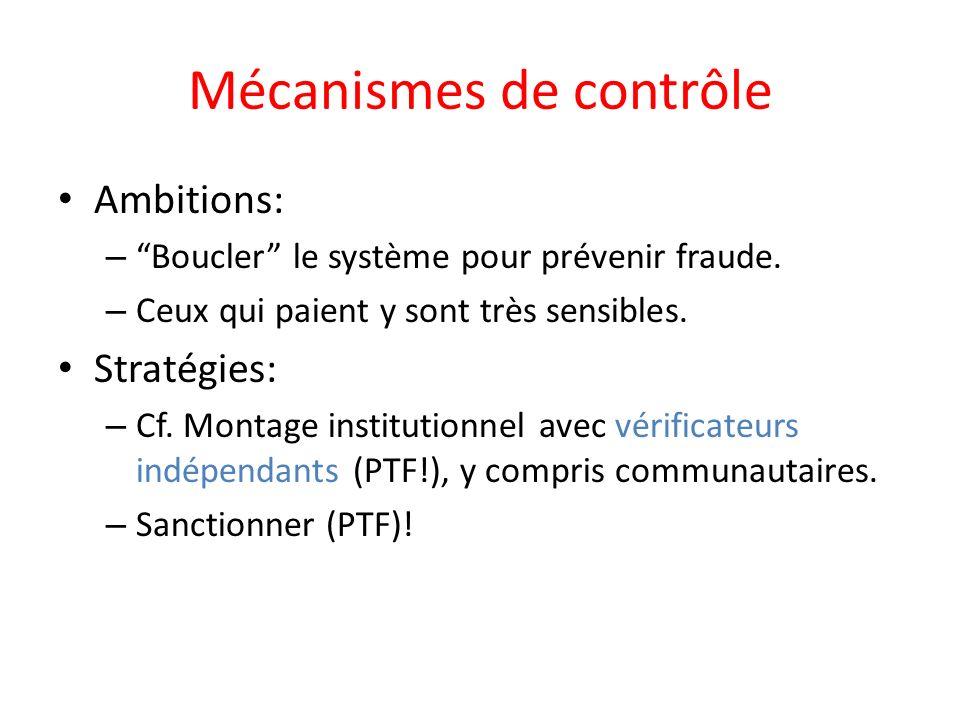 Mécanismes de contrôle Ambitions: – Boucler le système pour prévenir fraude.