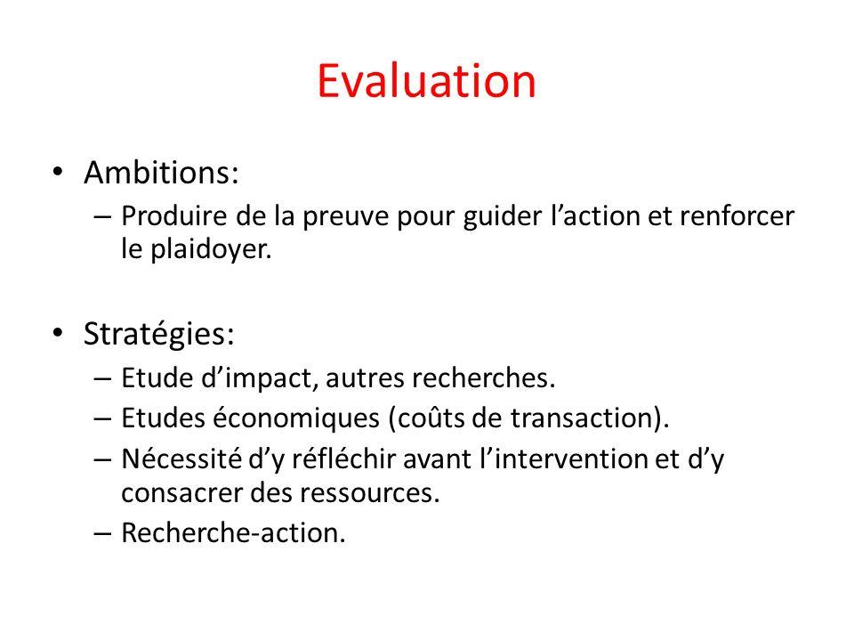 Evaluation Ambitions: – Produire de la preuve pour guider laction et renforcer le plaidoyer.