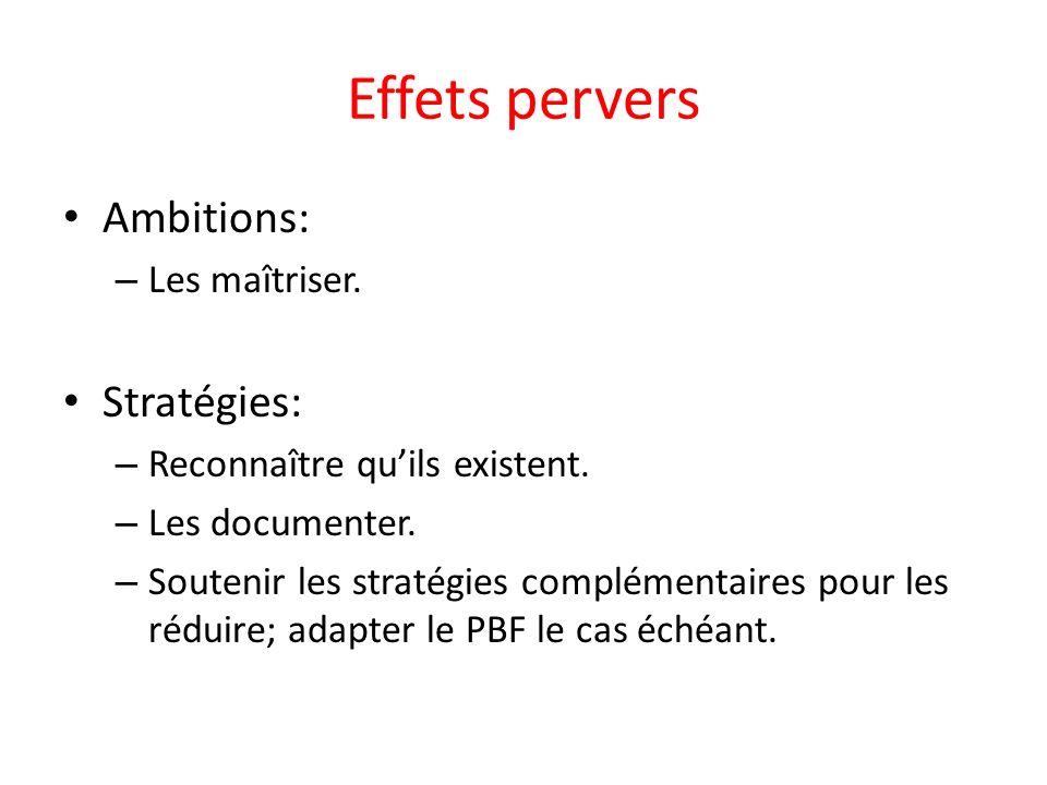 Effets pervers Ambitions: – Les maîtriser. Stratégies: – Reconnaître quils existent.
