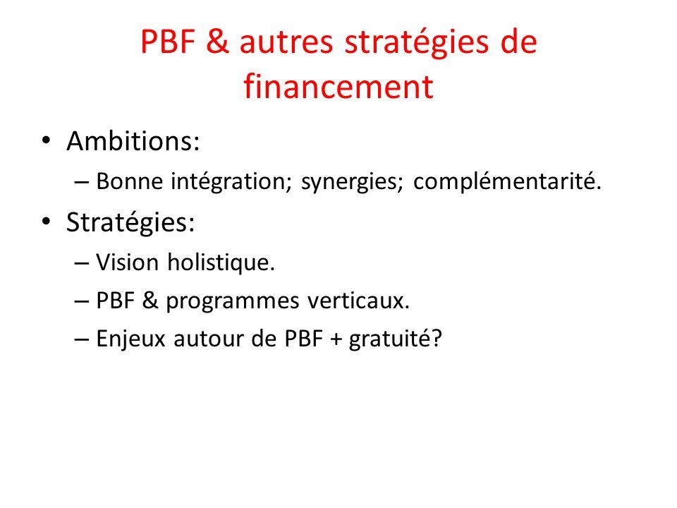 PBF & autres stratégies de financement Ambitions: – Bonne intégration; synergies; complémentarité.