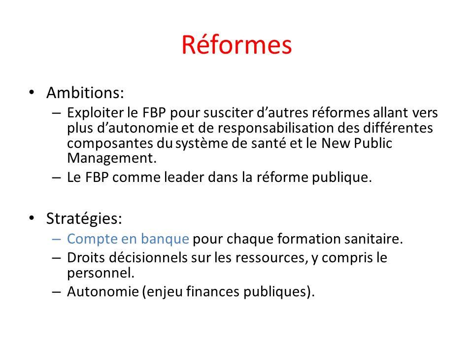 Réformes Ambitions: – Exploiter le FBP pour susciter dautres réformes allant vers plus dautonomie et de responsabilisation des différentes composantes du système de santé et le New Public Management.