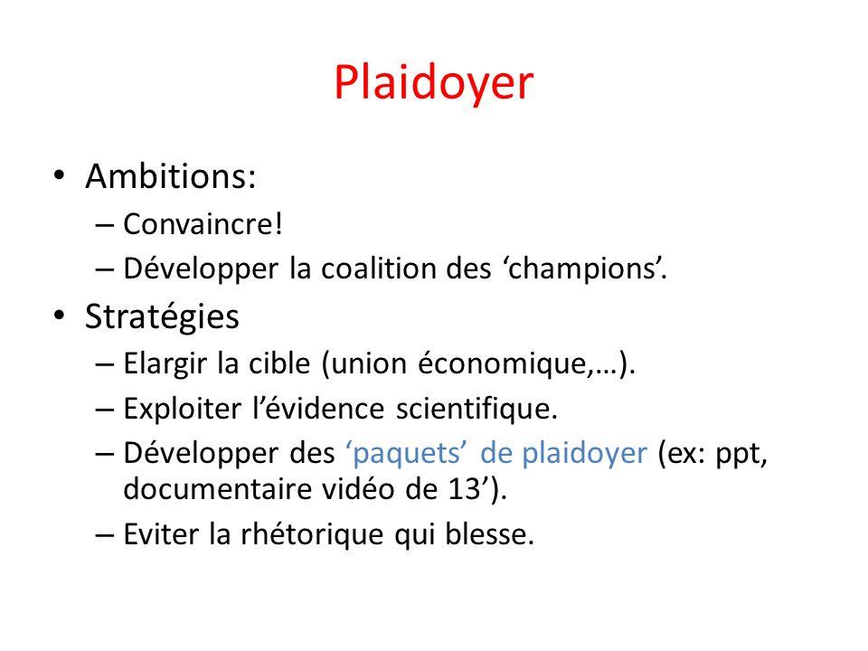 Plaidoyer Ambitions: – Convaincre. – Développer la coalition des champions.