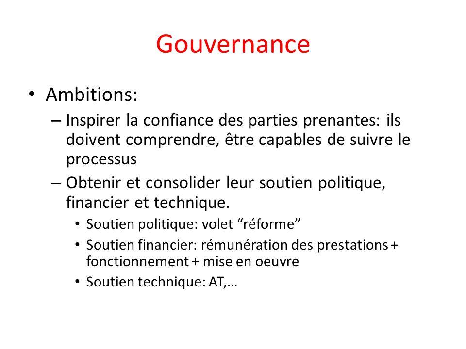 Gouvernance Ambitions: – Inspirer la confiance des parties prenantes: ils doivent comprendre, être capables de suivre le processus – Obtenir et consolider leur soutien politique, financier et technique.