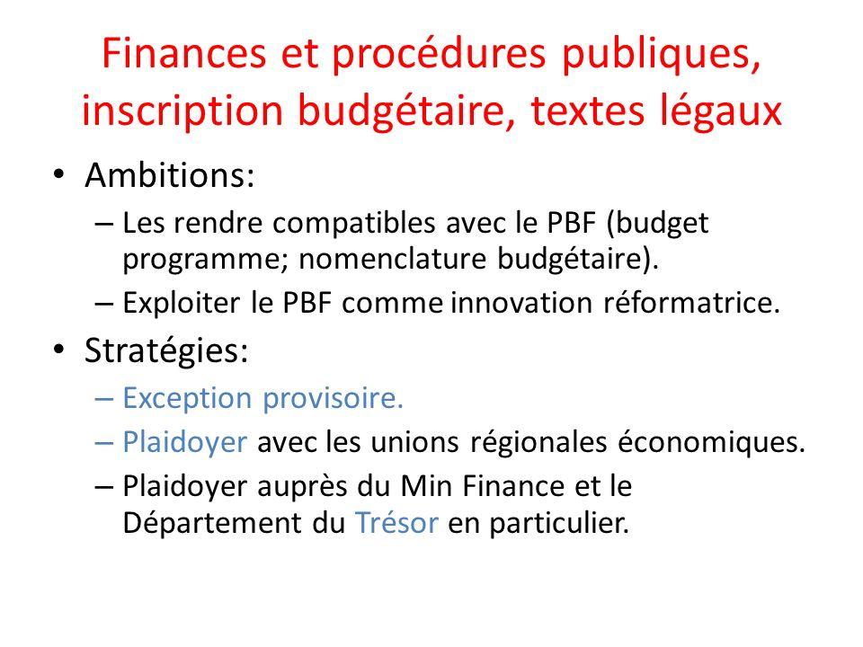 Finances et procédures publiques, inscription budgétaire, textes légaux Ambitions: – Les rendre compatibles avec le PBF (budget programme; nomenclature budgétaire).