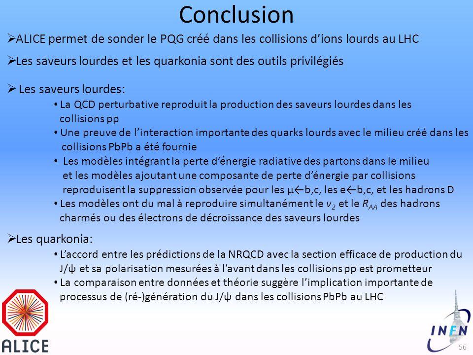 Conclusion 56 ALICE permet de sonder le PQG créé dans les collisions dions lourds au LHC Les saveurs lourdes et les quarkonia sont des outils privilégiés Les saveurs lourdes: La QCD perturbative reproduit la production des saveurs lourdes dans les collisions pp Une preuve de linteraction importante des quarks lourds avec le milieu créé dans les collisions PbPb a été fournie Les modèles intégrant la perte dénergie radiative des partons dans le milieu et les modèles ajoutant une composante de perte dénergie par collisions reproduisent la suppression observée pour les μb,c, les eb,c, et les hadrons D Les modèles ont du mal à reproduire simultanément le v 2 et le R AA des hadrons charmés ou des électrons de décroissance des saveurs lourdes Les quarkonia: Laccord entre les prédictions de la NRQCD avec la section efficace de production du J/ψ et sa polarisation mesurées à lavant dans les collisions pp est prometteur La comparaison entre données et théorie suggère limplication importante de processus de (ré-)génération du J/ψ dans les collisions PbPb au LHC