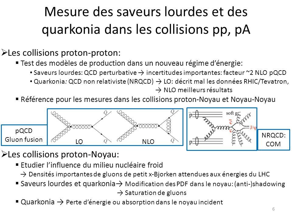 Mesure des saveurs lourdes et des quarkonia dans les collisions pp, pA 6 Les collisions proton-proton: Test des modèles de production dans un nouveau régime dénergie: Saveurs lourdes: QCD perturbative incertitudes importantes: facteur ~2 NLO pQCD Quarkonia: QCD non relativiste (NRQCD) LO: décrit mal les données RHIC/Tevatron, NLO meilleurs résultats Référence pour les mesures dans les collisions proton-Noyau et Noyau-Noyau Les collisions proton-Noyau: Etudier linfluence du milieu nucléaire froid Densités importantes de gluons de petit x-Bjorken attendues aux énergies du LHC Saveurs lourdes et quarkonia Modification des PDF dans le noyau: (anti-)shadowing Saturation de gluons Quarkonia Perte dénergie ou absorption dans le noyau incident NRQCD: COM pQCD Gluon fusion LONLO