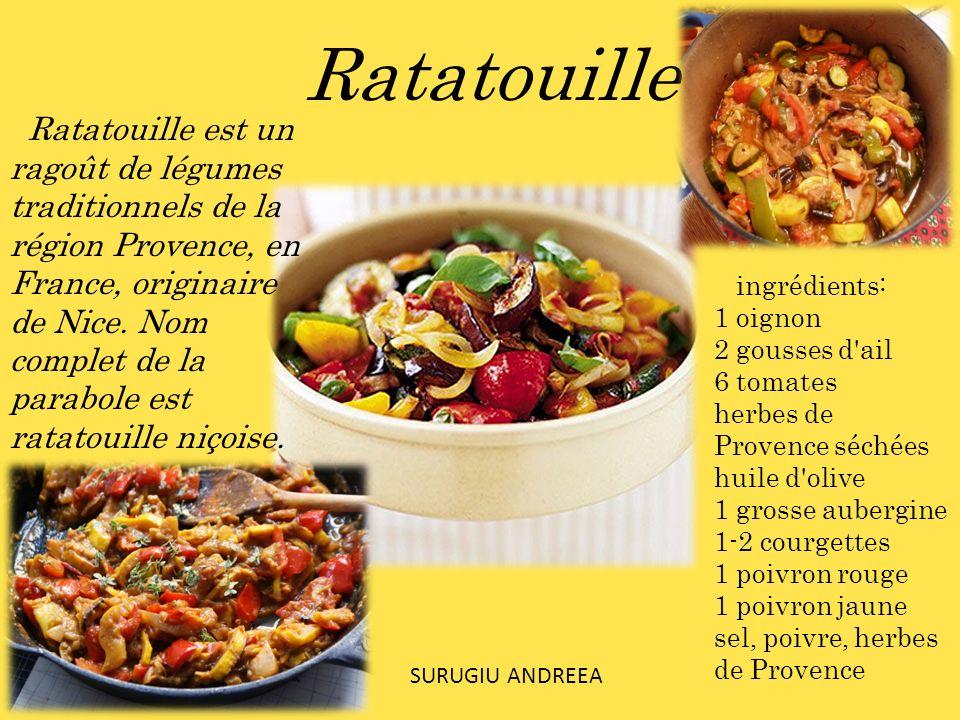 Ratatouille est un ragoût de légumes traditionnels de la région Provence, en France, originaire de Nice. Nom complet de la parabole est ratatouille ni