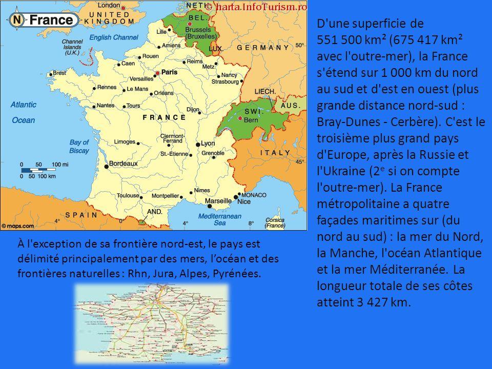 D'une superficie de 551500 km² (675417 km² avec l'outre-mer), la France s'étend sur 1000 km du nord au sud et d'est en ouest (plus grande distance nor