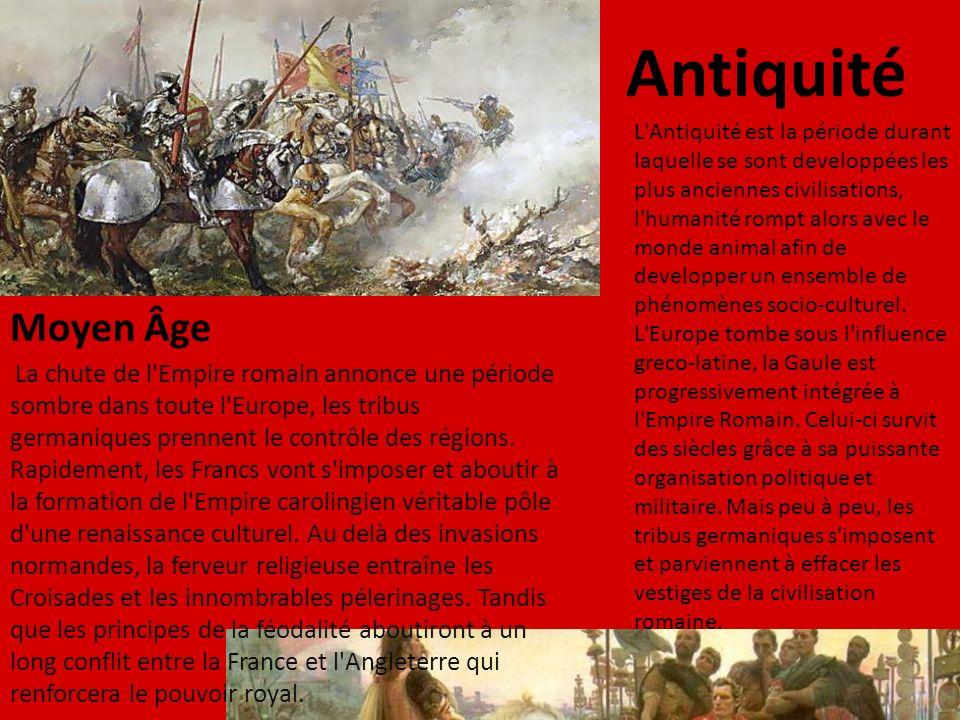L'Antiquité est la période durant laquelle se sont developpées les plus anciennes civilisations, l'humanité rompt alors avec le monde animal afin de d