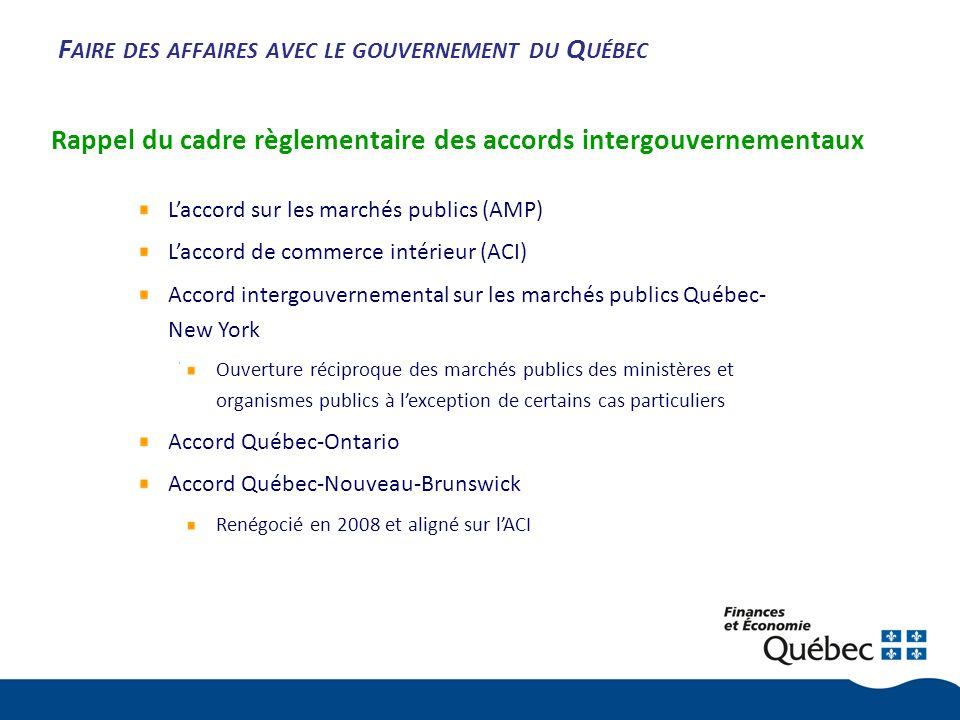 F AIRE DES AFFAIRES AVEC LE GOUVERNEMENT DU Q UÉBEC Rappel du cadre règlementaire des accords intergouvernementaux Laccord sur les marchés publics (AMP) Laccord de commerce intérieur (ACI) Accord intergouvernemental sur les marchés publics Québec- New York Ouverture réciproque des marchés publics des ministères et organismes publics à lexception de certains cas particuliers Accord Québec-Ontario Accord Québec-Nouveau-Brunswick Renégocié en 2008 et aligné sur lACI