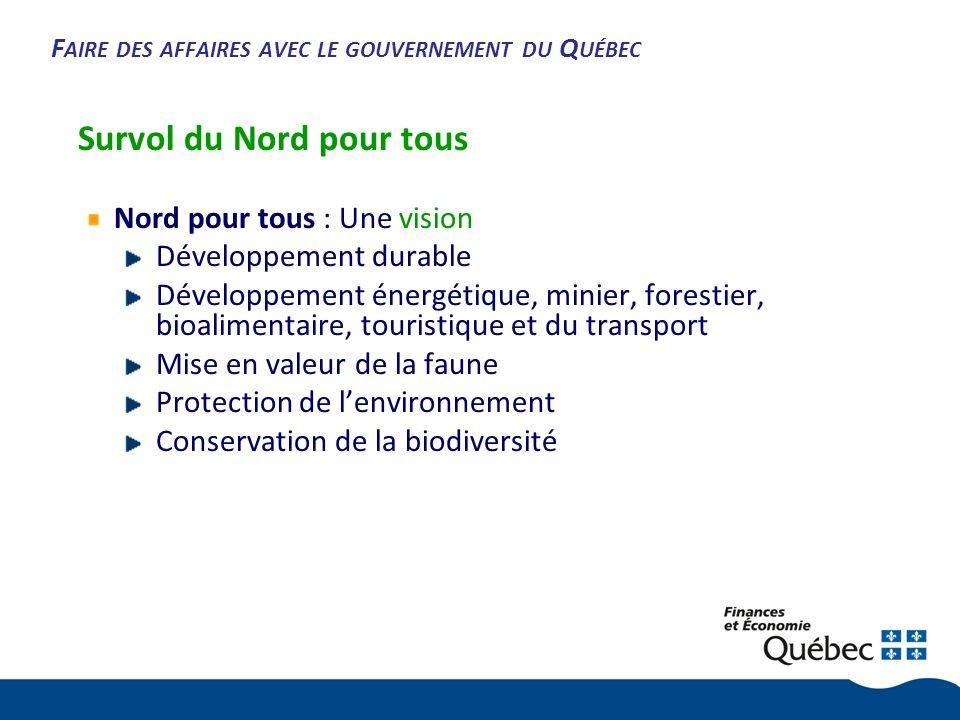 F AIRE DES AFFAIRES AVEC LE GOUVERNEMENT DU Q UÉBEC Survol du Nord pour tous Nord pour tous : Une vision Développement durable Développement énergétique, minier, forestier, bioalimentaire, touristique et du transport Mise en valeur de la faune Protection de lenvironnement Conservation de la biodiversité